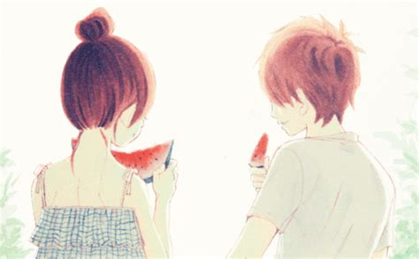 Today's Gif Of The Day Features A Cute Anime Couple Eating