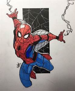 Drawn spiderman little - Pencil and in color drawn ...