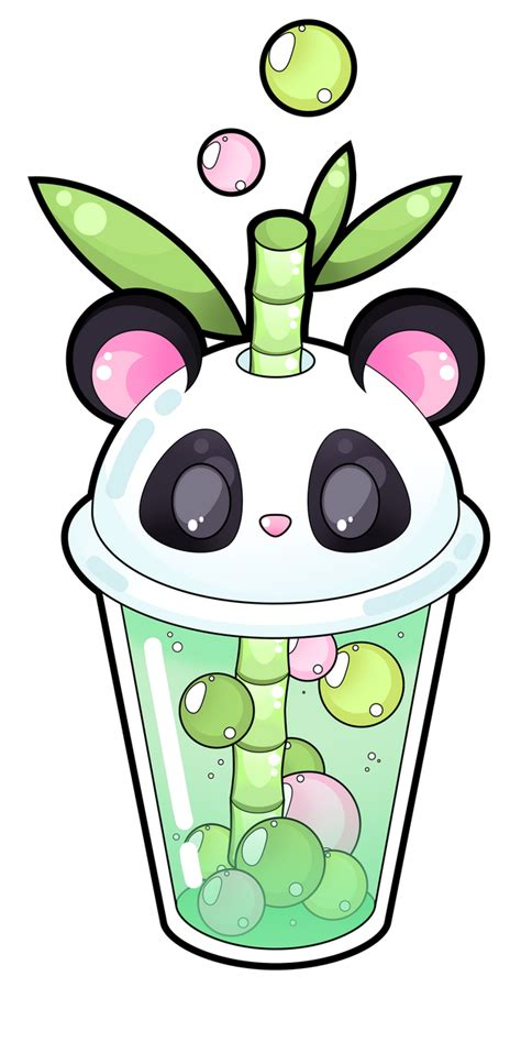 This boba tea ring is unique and kawaii. Panda bubble tea by Meloxi on DeviantArt