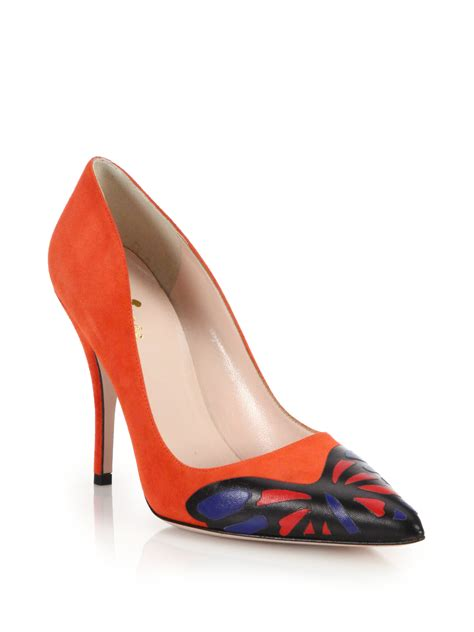 kate spade lena leather suede butterfly pumps  red lyst