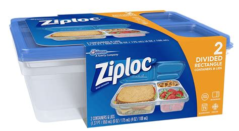 ziploc  count divided rectangle containers  lowest