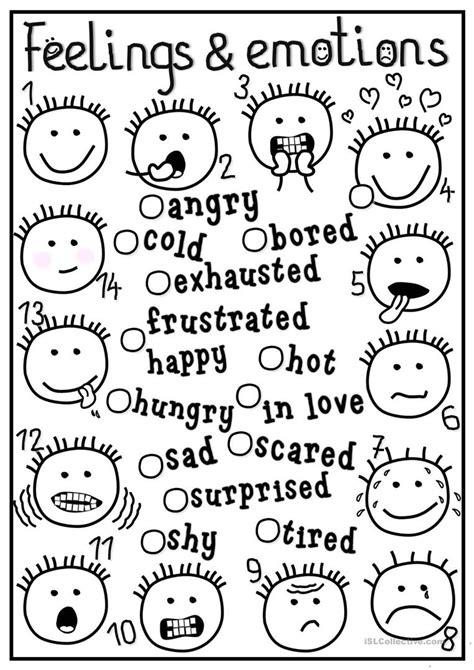 feelings  emotions matching worksheet  esl
