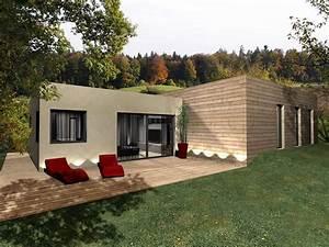 Maison bois à toit plat, toit terrasse