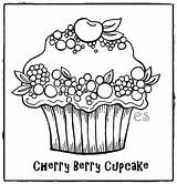 Coloring Cupcake Pages Printable Valentine Cute Cupcakes Birthday Cup Drawing Berry Printablepicture Printables Clip sketch template