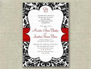 items similar to modern wedding invitation invite black With free printable red and black wedding invitations