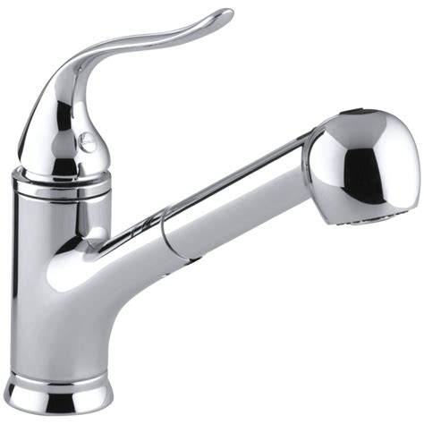 single kitchen faucet with pull out spray kohler faucet k 15160 cp coralais polished chrome pullout