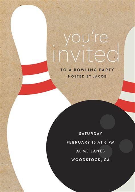 bowling party invitations  brown bowling party