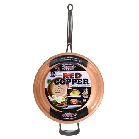 tv red copper  fry pan