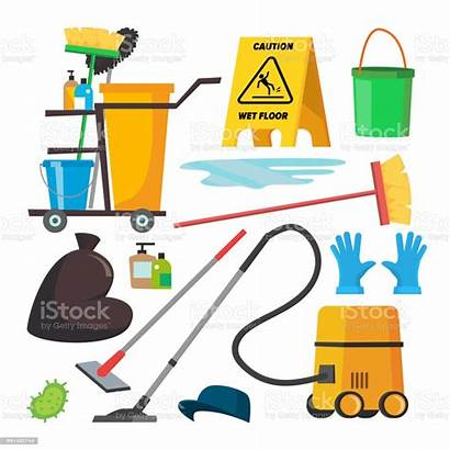 Cleaning Supplies Custodian Equipment Clip Commercial Vector