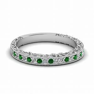 milgrain hand engraved diamond wedding band with emerald With emerald wedding band rings