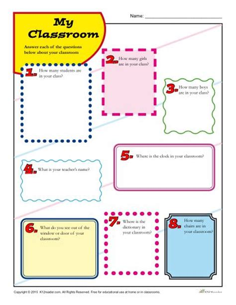 My Classroom  Back To School Printable Activity