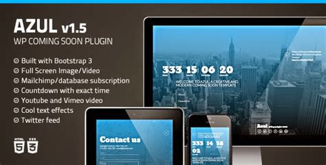 Azul Responsive Wordpress Coming Soon Plugin Free Download