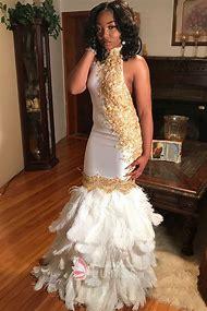 White and Gold Mermaid Prom Dress
