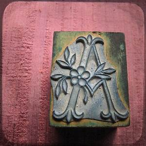 reserved antique french embroidery block rubber stamp With printing letters on fabric