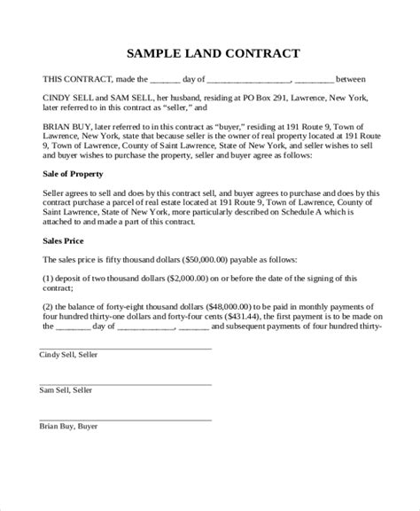 installment land contract form sle land contract form 8 free documents in pdf doc