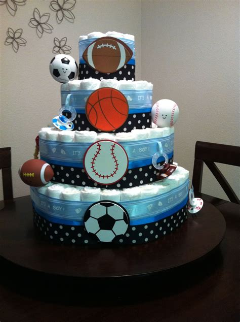 sports themed diaper cake    friends baby shower