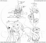 Princess Castle Outline Coloring Pony Clip Vector Royalty Illustration Drawing Pushkin Clipart Getdrawings sketch template