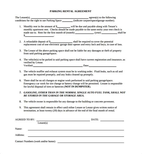 sample parking agreement template   documents