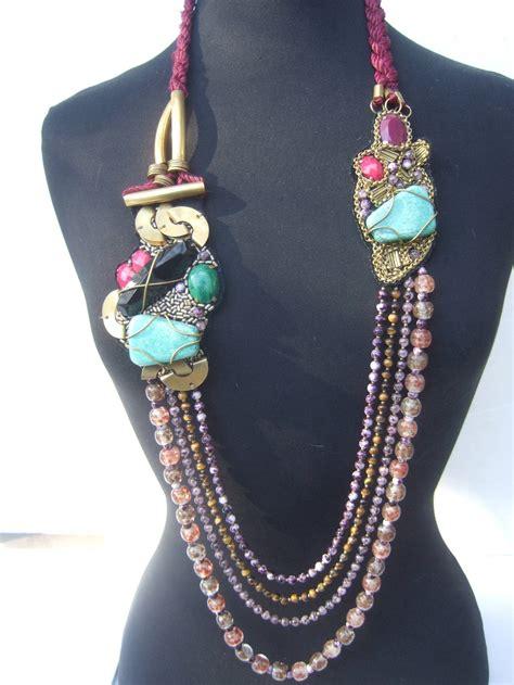 artisan stone  glass beaded avant garde necklace