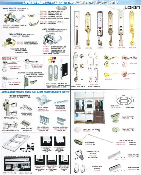 Lever Set, Deadbolt, Handle Set, Bifold Door Fitting
