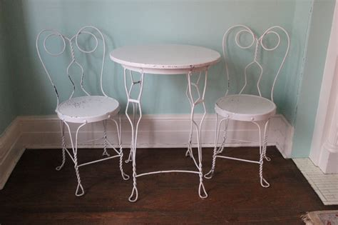 ice cream parlor table vintage ice cream parlor table chair by vintagechicfurniture