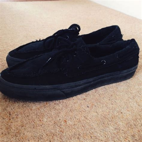 Vans Boat Shoes All Black by Vans Size 11 All Black Boat Shoes All The Way From The