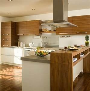armoires de cuisine realisees en noyer naturel modules du With cuisine blanche et noyer