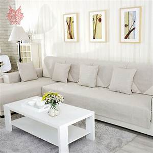 American modern style beige melange sofa cover cotton for Modern contemporary linen sectional sofa with