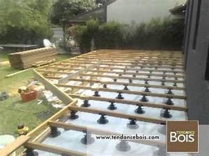 pose de terrasses avec plots betons youtube With terrasse en bois sur plot