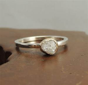 white uncut diamond engagement ring 14k gold and sterling With homemade wedding rings