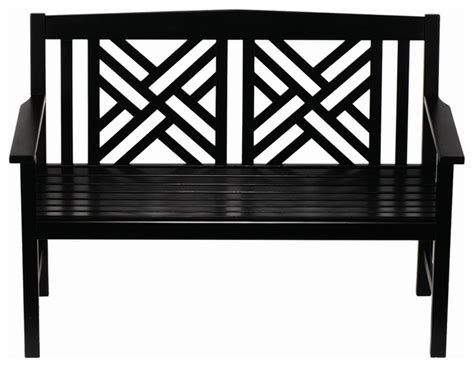Black White Bench by Fretwork Bench Black Polyurethane Traditional Outdoor