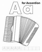 Accordion Coloring Handwriting Practice sketch template