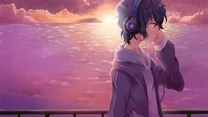 anime, wallpaper, , original, , boy, , headphones, , original, , anime, , , sky, , sunset, , u2022, wallpaper, for, you, hd