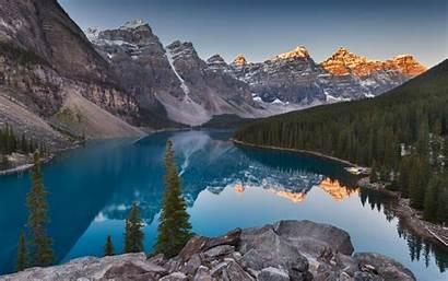 Lake Moraine Desktop Landscape 4k Sunset Nature