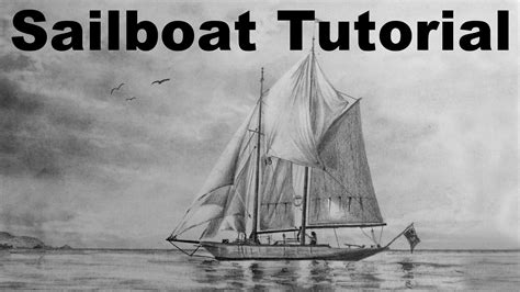 How To Draw A Boat Sailing by How To Draw A Sailboat Sailing Boat Ship Drawing Time