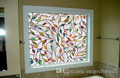 tree branches leaves stained glass film static cling