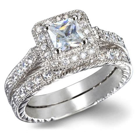 wedding sets for certified 1 carat princess cut vintage wedding ring set in white gold jeenjewels