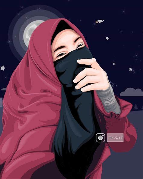 gambar kartun muslimah cantik  imut bercadar