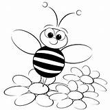 Bee Coloring Bumble Pages Flower Standing sketch template