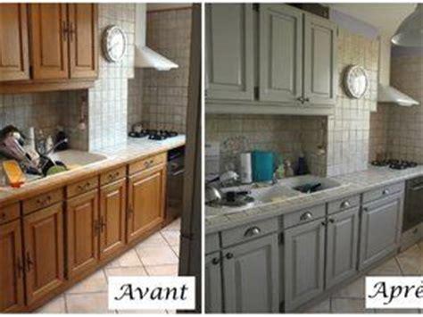 peinture v33 renovation meuble cuisine cuisine en chêne relookée gris clair patine plus sombre