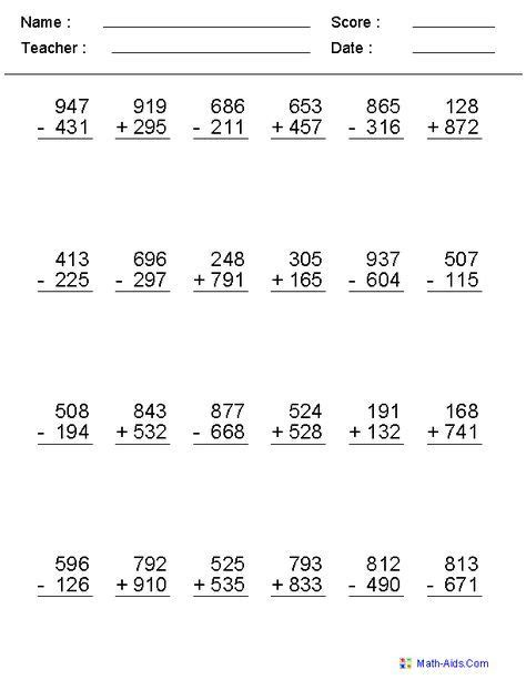 digits mixed operator worksheets  images