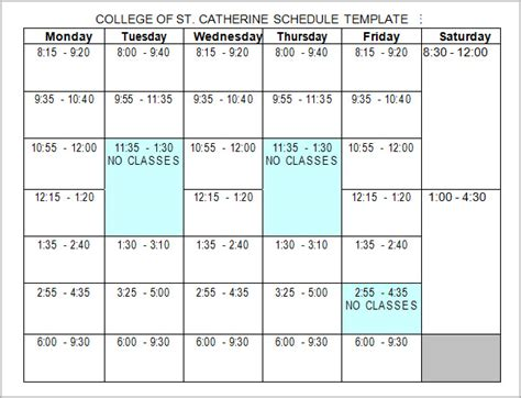 college class schedule template 6 sle college schedule templates sle templates