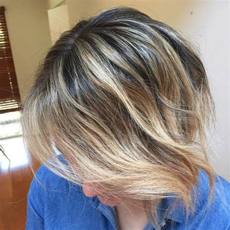 Balayage Brown Hair with Blonde Bob