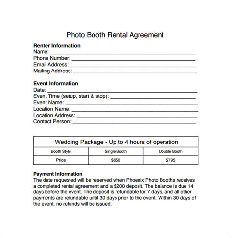 booth rental agreement templates samples examples