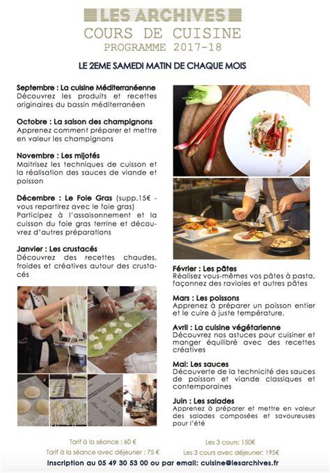 cours de cuisine beauvais cours de cuisine poitiers 28 images cours de cuisine