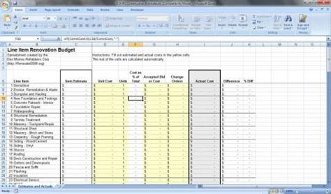 renovation budget spreadsheet renovateqc renovation