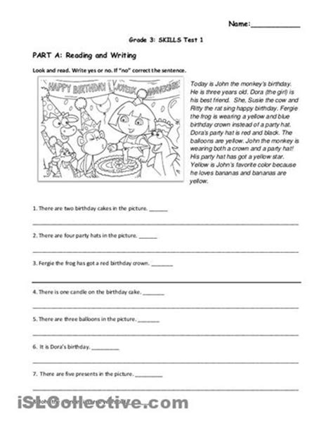 free reading comprehension worksheets for grade 1 1
