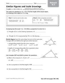Reteach Similar Figures And Scale Drawings 4th  6th Grade Worksheet  Lesson Planet