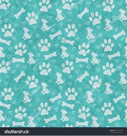 Paw Dog Teal Prints Background Bone Pattern