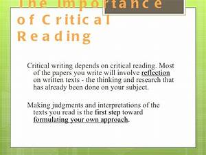 Critical Reading Essay Photography Institute Assignment  Critical  Critical Reading Essay Structure Pdf